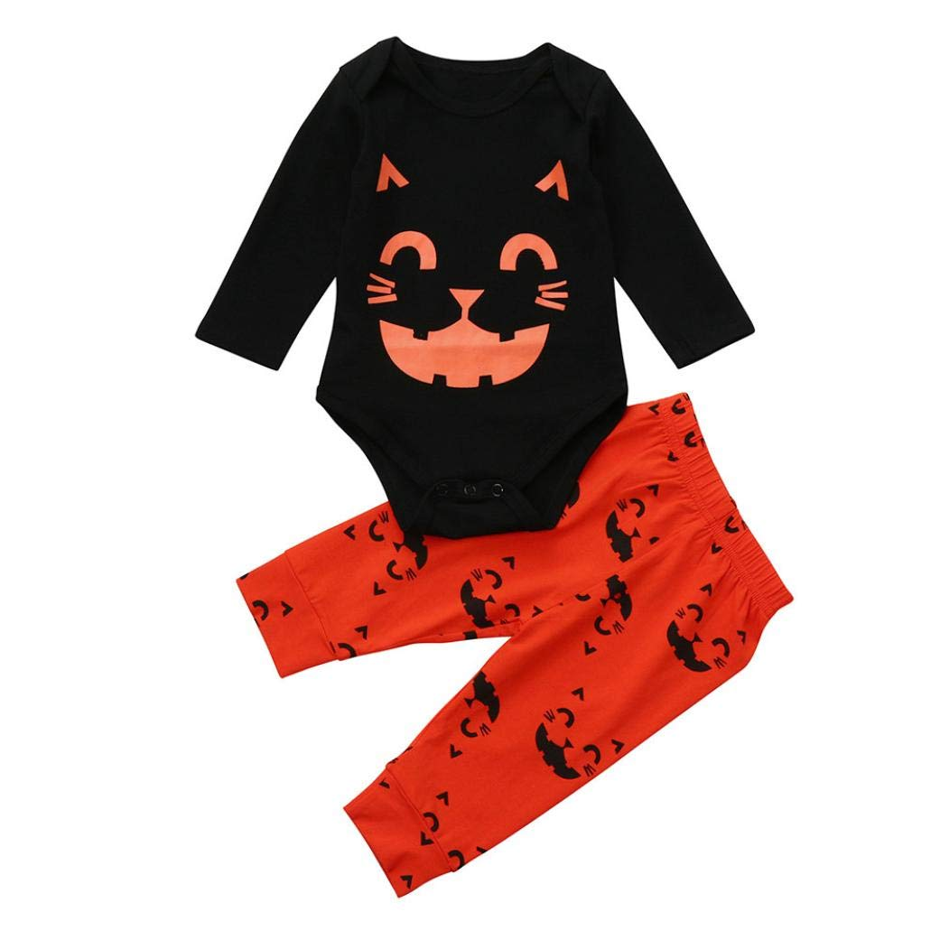 2PCS Baby Halloween Outfit,JDgoods Cat Print Romper+Cartoon Print Pants Set Outfit for Kids Baby Halloween (6M)