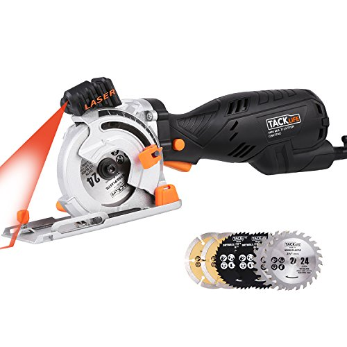 Tacklife Mini Circular Saw with Laser 6 Blades, CSK77AC Circular Saw 5.8A 705W (Equivalent 7.5A 900W) Cutting Wood/Plastic/Metal/Tile/Masonry/Flooring, One-hand Left Design and Depth 0~28.5mm