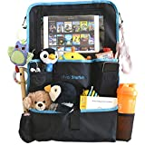 Loyal Starfish Car Seat Organizer - Smart iPad/Tablet Holder with Headphone Zipper - Large, Durable and Pockets - Keeps Kids and Toddlers Entertained - Easily Turn Into Stroller Organizer