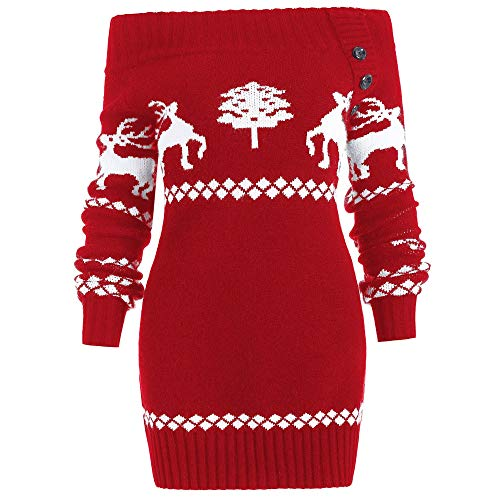 - DressLily Women Christmas Ugly Sweater Off Shoulder Reindeer Snowflake Print Knit Santa Tunic Tops RED 2XL