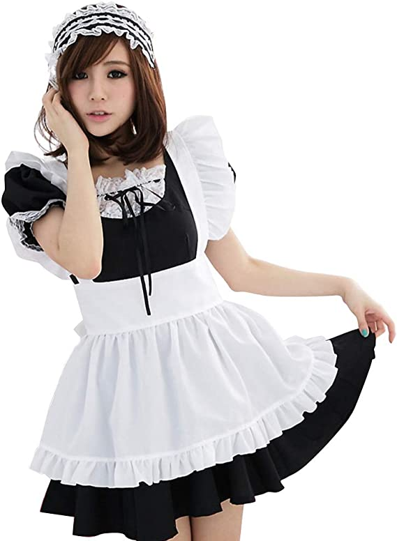 Japanese Lolita Lace Maid Wear Uniform Dress Halloween Cosplay Underwear Anime
