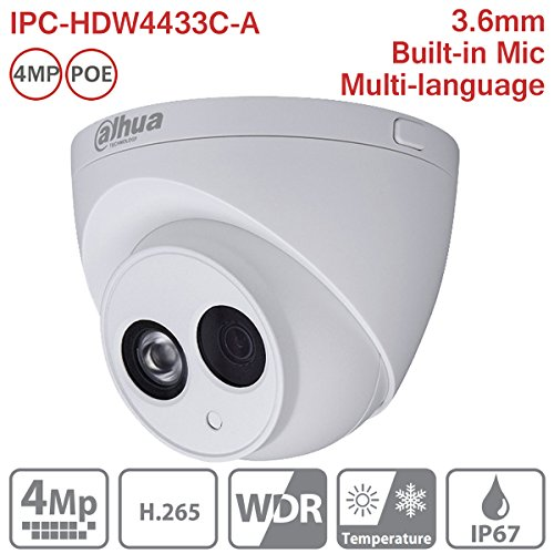 Dahua HDW4433C-A 3.6mm 4MP Dome IP Camera POE IP67 Night Version Outdoor ONVIF H.265 Network Camera International Version by Hansen