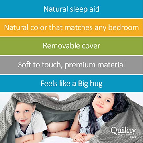 Cotton//Minky for a Child Between 90-120 lbs Single Size Bed Grey//Grey Color 41x60 Premium Glass Beads 10 lbs Quility Premium Kids Weighted Blanket /& Removable Cover