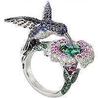 Meenanoom 6.5CT Green&Blue&Pink Sapphire Hummingbird 925 Silver Wedding Ring Size 6-10 (9)