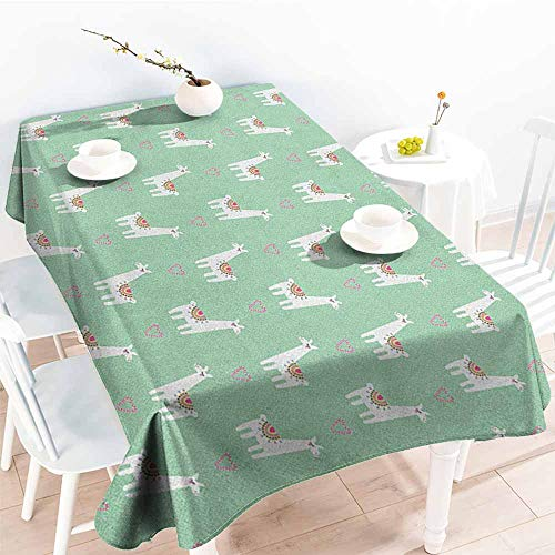 Beihai1Sun Outdoor Tablecloth Rectangular,Llama Cute Llama with Candy Cane Hearts Fun Pattern on Mint Green Background,Party Decorations Table Cover Cloth,W60X102L Mint Green Multicolor