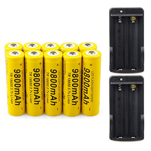 10 Pack 18650 3.7V 9800mAh Batteries Rechargeable Li-ion Battery + 2PCS Dual charger,Yellow high-capacity battery