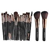 22Pcs Beauty Makeup Brushes Set Cosmetic Powder Blush Liner Lip Make Up Brush Tools black brown-22pcs