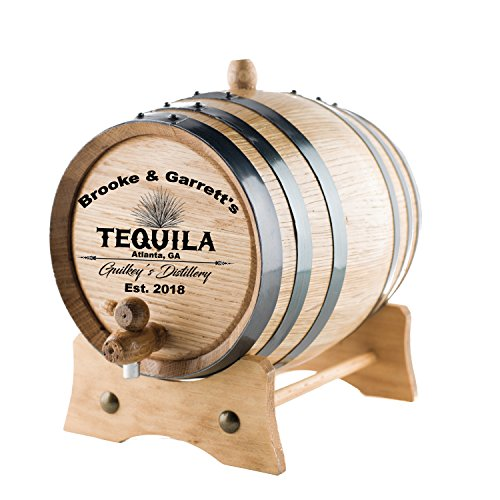 Personalized Tequila Oak Barrel | Custom Engraved American White Oak Aging Barrel - Age your own Tequila, Whiskey, Rum, Wine, Beer, Vinegar. (10 Liters)
