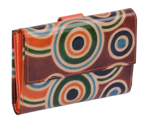 Avanco Women's Leather Purse in hand-painted leather 5.5 x 3.5 inch Orange