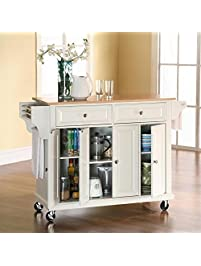 crosley furniture rolling kitchen island with natural wood top white. beautiful ideas. Home Design Ideas