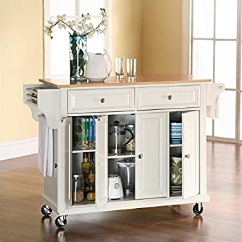Crosley Furniture Rolling Kitchen Island With Natural Wood Top   White