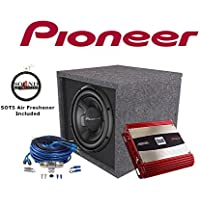 Pioneer TS-W256R 10 Subwoofer with a 10 Vented Enclosure & Dual XPA2100 2 Channel Amplifier with an 8 Gauge Amp wiring kit and a FREE SOTS Air Freshener