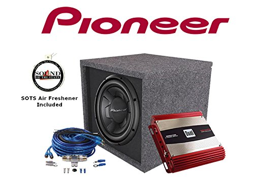 """Pioneer TS-W256R 10"""" Subwoofer with a 10"""" Vented Enclosure & Dual XPA2100 2 Channel Amplifier with an 8 Gauge Amp wiring kit and a FREE SOTS Air Freshener"""