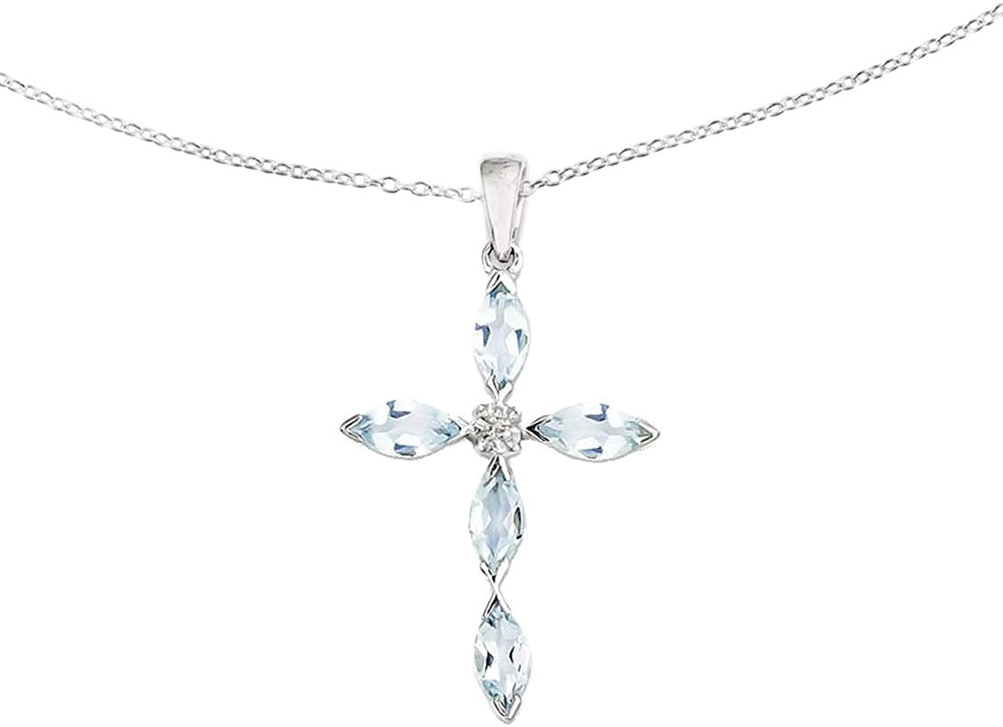 HN Jewels Gemstone Cross Pendant W//18 Chain In 925 Sterling Silver Marquise Cut Aquamarine Diamonds