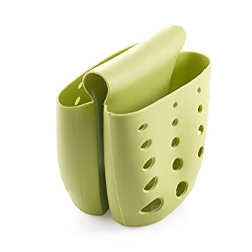 Kitchen Silicone Saddle Double Sponge Holder Soap Sink Rack Dish Brush Drain Bag