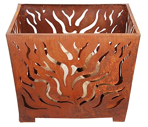 Fallen Fruits Medium Square Fire Basket - Rust FF162