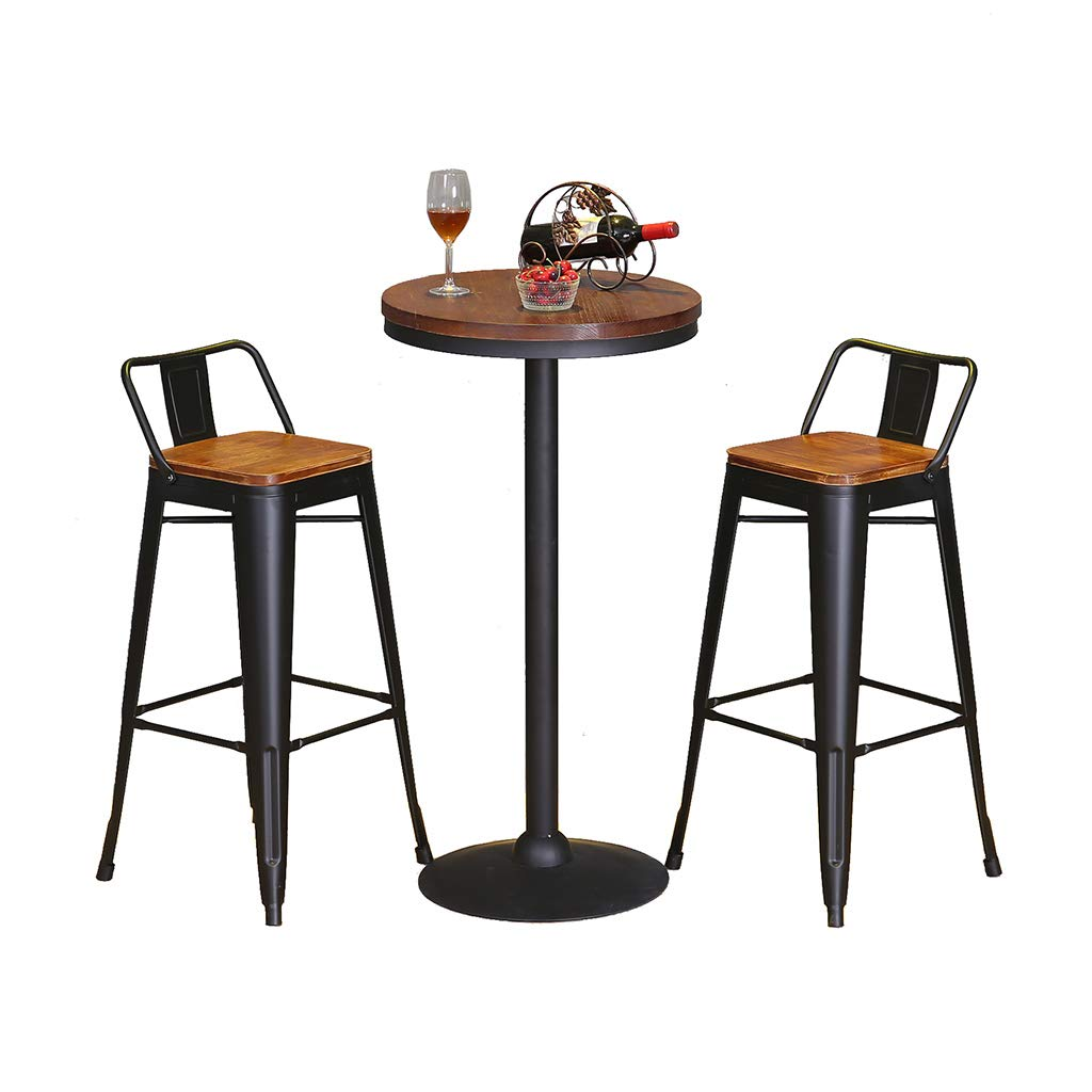 C FFLSDR Starbucks Bar Stool Solid Wood Bar Table and Chair Combination Bar Stool High Stool Wrought Iron Chair Back Front Chair (Size   A)