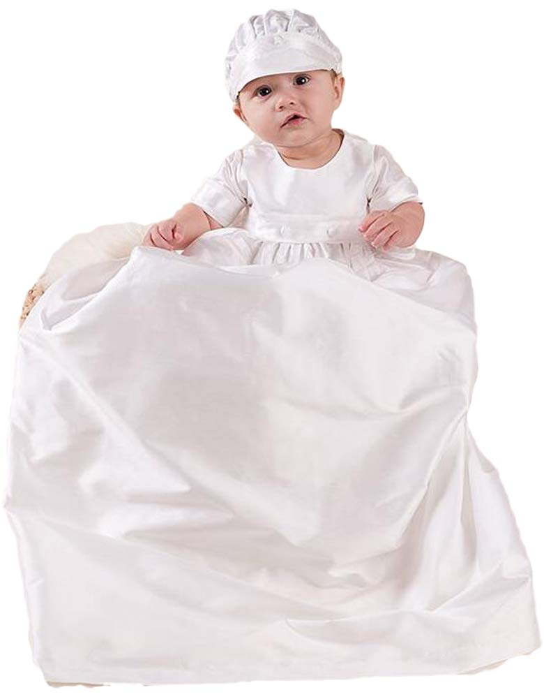 ShineGown Baby Boy Christening Dress Baptism Gowns Long Clothes White Wedding Birthday Party Outfits Short Sleeves