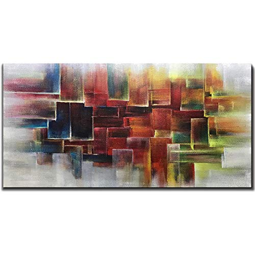 Square Oil Painting - Amei Art Paintings,24X48 Inch Hand-Painted Oil Paintings on Canvas Colorful Square Abstract Painting Contemporary Artwork Home Decor Simple Modern Wall Art Wood Inside Framed Ready to Hang