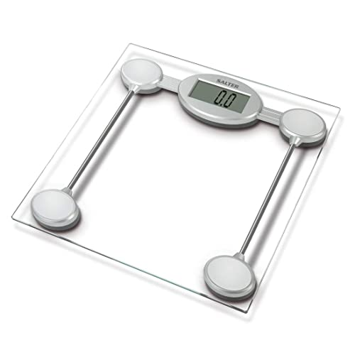 Salter Digital Bathroom Scales – Electronic Body Weighing, Metric kg / Imperial lb, Toughened Glass Platform, Easy Read Display, Step On for Instant Weight Reading, 15 Year Guarantee