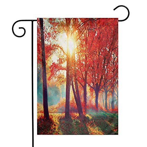 Tree Garden Flag Autumnal Foggy Park Fall Nature Scenic Scenery Maple Trees Sunbeams Woods Decorative Flags for Garden Yard Lawn W12 x L18 Orange Yellow ()