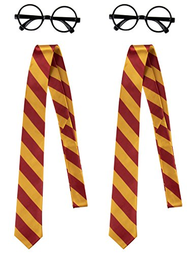 Wizard Glasses and School Ties - 4-Piece Black Round Glasses with Red and Yellow Striped Ties, Cosplay Costume Accessories for Halloween, Dress-Up Birthday Parties