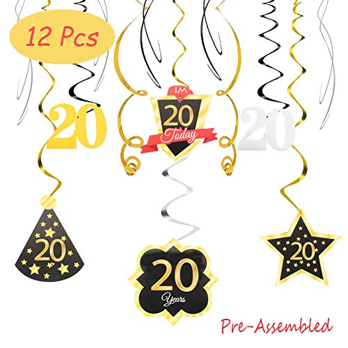 20 Birthday Decoration Happy 20th Birthday Party Silver Black Gold Foil Hanging Swirl Streamers Im Twenty Years Old Today Birthday Hat Gold Star Ornament Party Present Supplies
