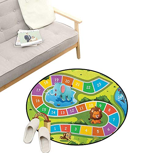 Kids Activity Baby Room Decor Round Carpets ,Picnic in The Forrest Colorful Pathway to The Blanket with Friendly Animals, Print Custom Floor mats 31