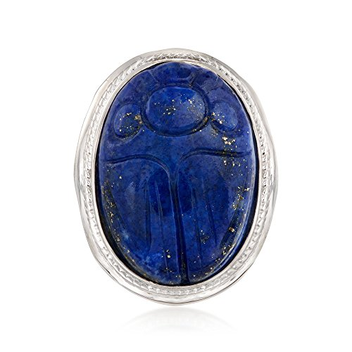 Ross-Simons Carved Lapis Scarab Ring in Sterling Silver