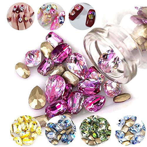 DAODER 100pcs Big Rhinestones for Nails Sparkly 3D Nail Jewels Rhinestones Crystal Gems Stone Sharp Back Rhinestones and Charms Laser Assorted Color Nail Decoration for DIY Crafts -