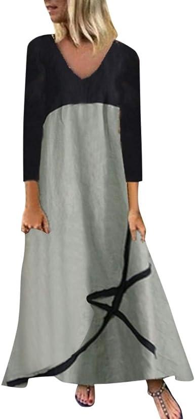 Vestidos Mujer Casual, Las Mujeres Ropa De Cama De Algodón Mangas Larga Sueltas Vintage Maxi Vestido Irregular Vestido de Costuras Simple: Amazon.es: Ropa y accesorios