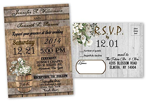 Rustic Barn Wedding Invitations Calla Lily Set of 30