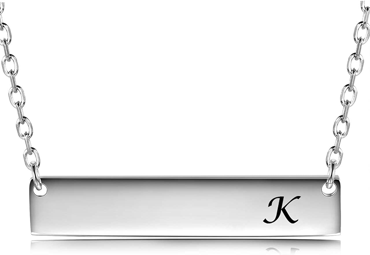 JZCOLOR | Sterling Silver Bar Necklace | Pendant with Engraved Letter