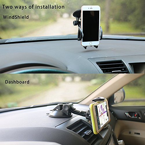 Car Phone Mount,OHLPRO Cell Phone Holder For Car Dash Windshield Dashboard Universal 360°Adjustable Rotating for iPhone Samsung SONY Google All 4''- 6.4'' Smartphones GPS Mobile (Silver) by Ohlpro (Image #2)