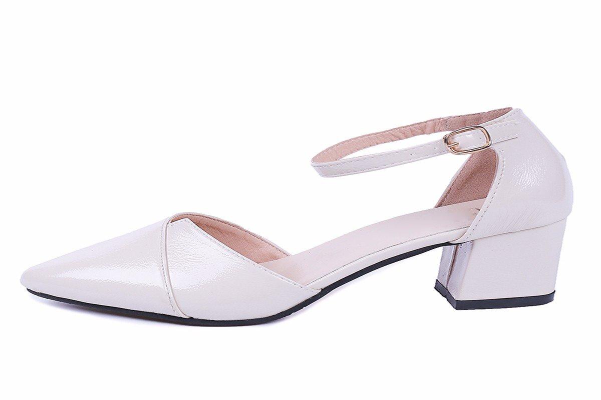 GTVERNH Damenschuhe Mittel-und Absatz 6 cm Hochhackigen Schuhe Im Frühling und Sommer Damenschuhe Schnallen Scharfe Schuhe Baotou Einzigen Schuh-Sandalen.