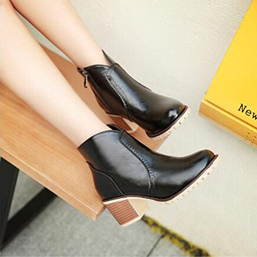 Block Summerwhisper Toe Stacked Zipper Black Vintage Women's Boots Round Heel Side Booties Mid Ankle qr86rtwx