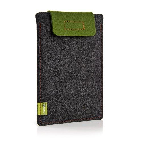 """ALMWILD® Hülle Case iPad Air / Air 2 und 9,7"""" iPad mit / ohne Smart Cover, Galaxy Tab A. Natur- Filz - Sleeve in Schiefergrau, Schwarz. Verschluß almwildes Moos- Grün. iPad Air Tasche aus bayerischer Manufaktur"""