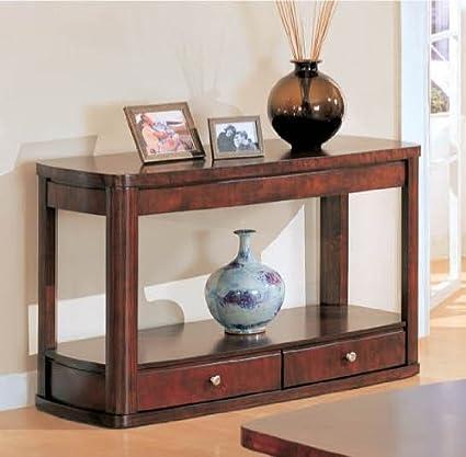 Amazon Com Dark Cherry Sofa Table With Storage Drawer Kitchen Dining