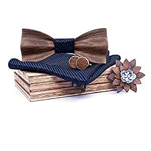 Ties 3D Character Carve Patterns Or Designs On Woodwork Ripple Wood Bow Tie General Wedding Wooden Bow Tie Men and Women Fashion Accessories (Color : C)