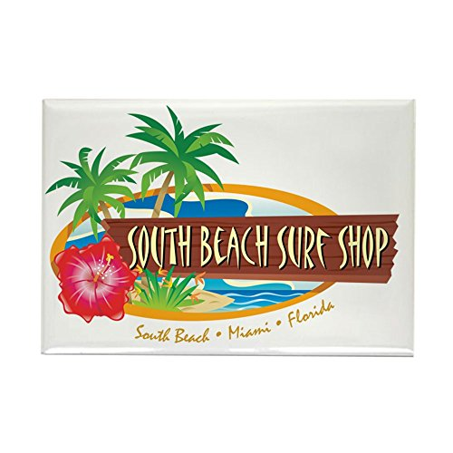 "CafePress - South Beach Surf Shop - Rectangle Magnet - Rectangle Magnet, 2""x3"" Refrigerator Magnet"