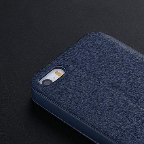 iPhone SE Hülle, HICASER UltraSlim Premium Soft Leder Klappetui Schutzhülle für Apple iPhone 5 / 5S / SE [Full Body] Handyhülle Stoßdämpfende Case mit Standfunktion Navy