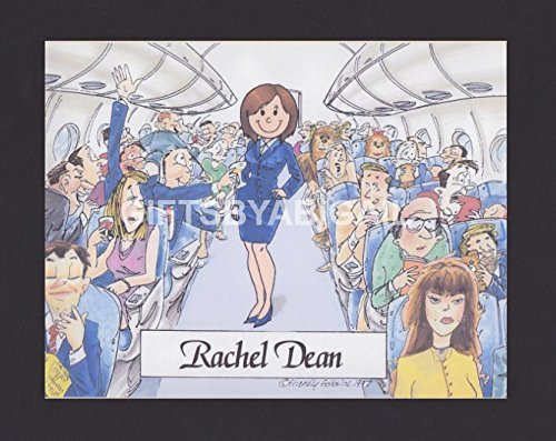 Flight Attendant Personalized Gift Custom Cartoon Print 8x10, 9x12 Magnet or Keychain by giftsbyabigail