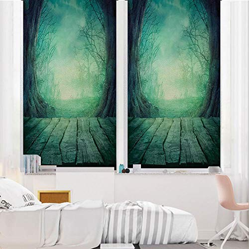 Gothic 3D No Glue Static Decorative Privacy Window Films, Spooky Scary Dark Fog Forest with Dead Trees and Wooden Table Halloween Horror Theme Print,24