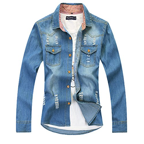 Musamk Dashing 2016 Spring New Men's Jacket Male Casual Denim Clothing Denim Jacket Lapel Mens Holes In Jeans Lovethisstyle CM0733XL High - Hole Repair Wetsuit