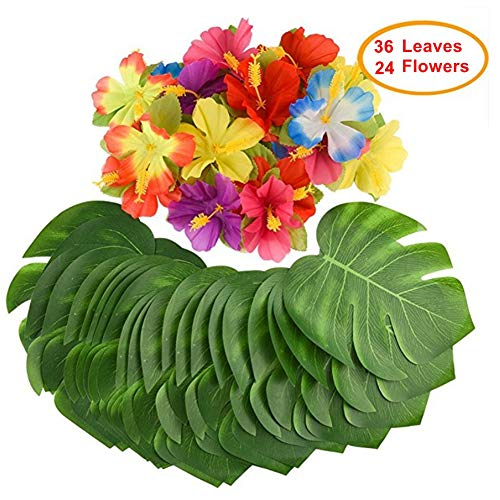 Mandy's 60pcs Luau Party Supplies Palm Leaves & Hibiscus Flowers for Luau Tropical Jungle Party ()