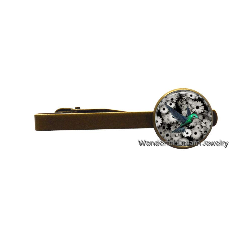 New Art Glass Cabochon Tie Clip Hummingbird Tie Clip Hummingbird Tie Pin Glass Dome Tie Pin Tie Clip,PU339 Brass