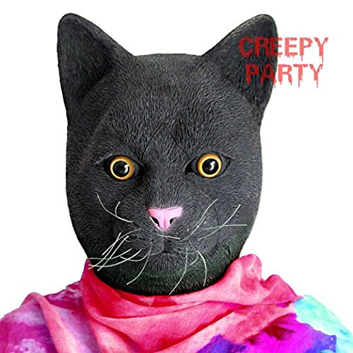 CreepyParty Deluxe Novelty Halloween Costume Party Latex Animal Sounding Cat Head Mask (Silent) (Cat Halloween Meme)