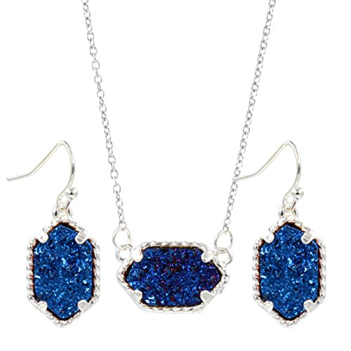 - YUJIAXU Framed Oval Faux Druzy Chic Choker Necklace + Drop Earrings Jewelry Set Women's Super (Silver Blue)