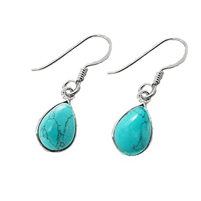 Elements Silver E4570T Women's Turquoise Leaf Shape Sterling Silver Earrings Dbw4X