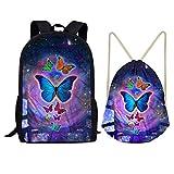 Showudesigns Kids School Backpack Set Boys Schoolbag + Sport Drawstring Bag Butterfly